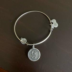 """""""G"""" silver Alex and ani bracelet"""